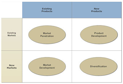 quadrant of growth that is a simple adaptation of the Ansoff Matrix