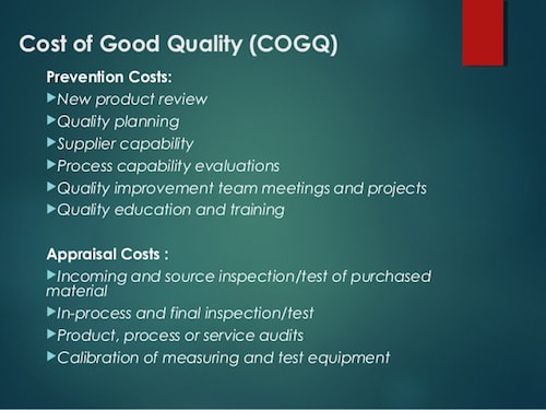 The Cost Of Good Quality